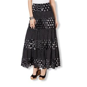 Style & Co Mixed Print Tiered Maxi Skirt